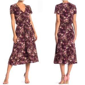 WAYF Short Sleeve Floral Print Midi Dress Medium